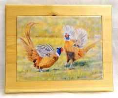 Fighting pheasants Tiled tea pot stand, table centre