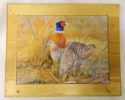 Pheasant trio, Tea pot stand/table centre