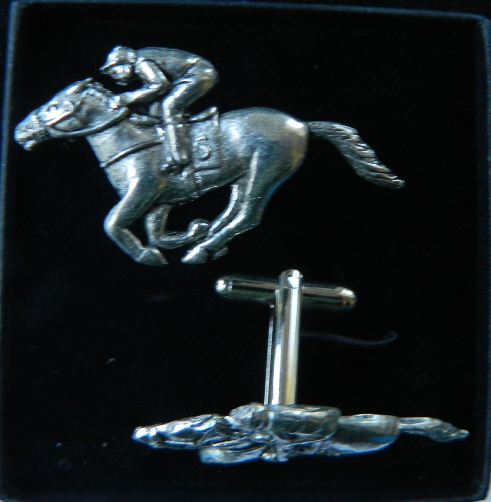 Racehorse pewter cufflinks