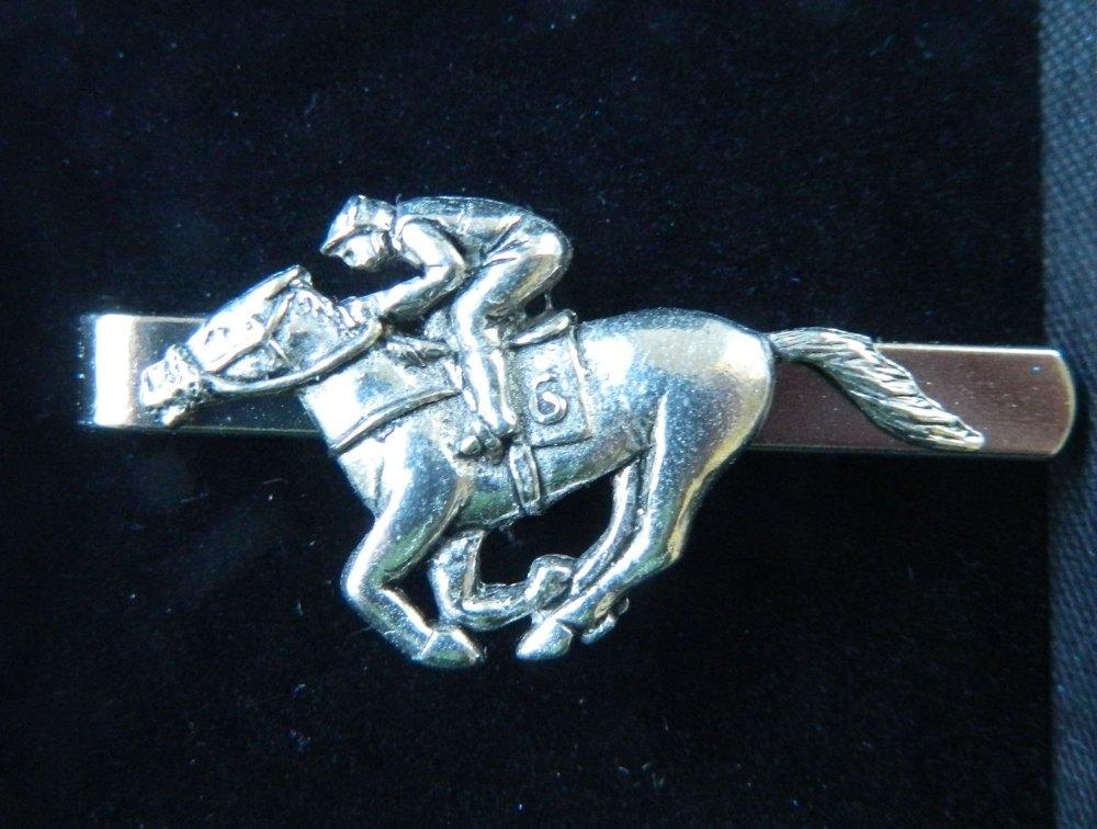 Racehorse Pewter tie slide