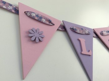 Wooden Bunting - Flower - Pink and Purple