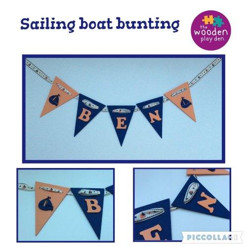 Handmade Personalised Wooden Bunting - Sailing Boat