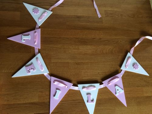 Wooden Bunting - Polka Dot - Pink and White