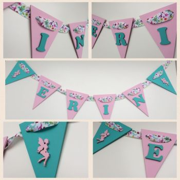 Wooden Bunting - Fairies - Pink and Turquoise