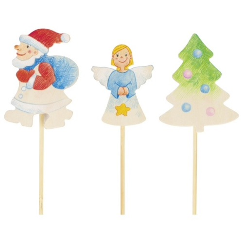 Christmas colour in decorations on a stick x 6
