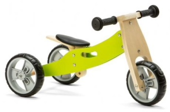 Mini 2 in 1 Wooden Balance Bike Trike - Green