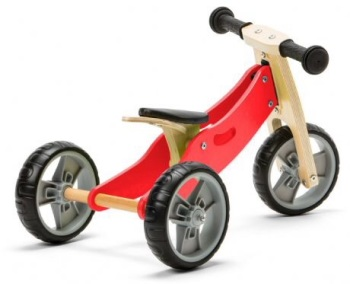 Mini 2 in 1 Wooden Balance Bike Trike - Red