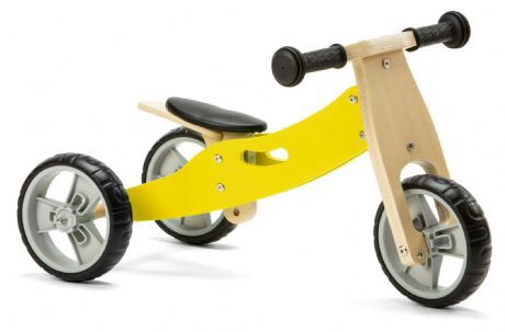 Mini 2 in 1 Wooden Balance Bike - Yellow