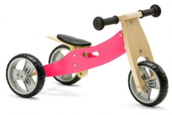 Mini 2 in 1 Wooden Balance Bike Trike  - Pink