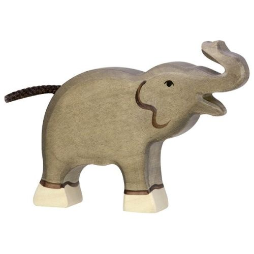 Elephant, small, trunk raised - Holztiger