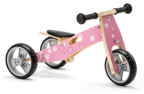 Mini 2 in 1 Wooden Balance Bike Trike - Flower
