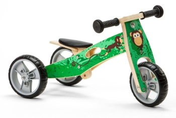 Mini 2 in 1 Wooden Balance Bike Trike - Monkey