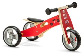 Mini 2 in 1 Wooden Balance Bike Trike - Racing Car