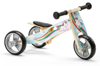 Mini 2 in 1 Wooden Balance Bike Trike - Unicorn