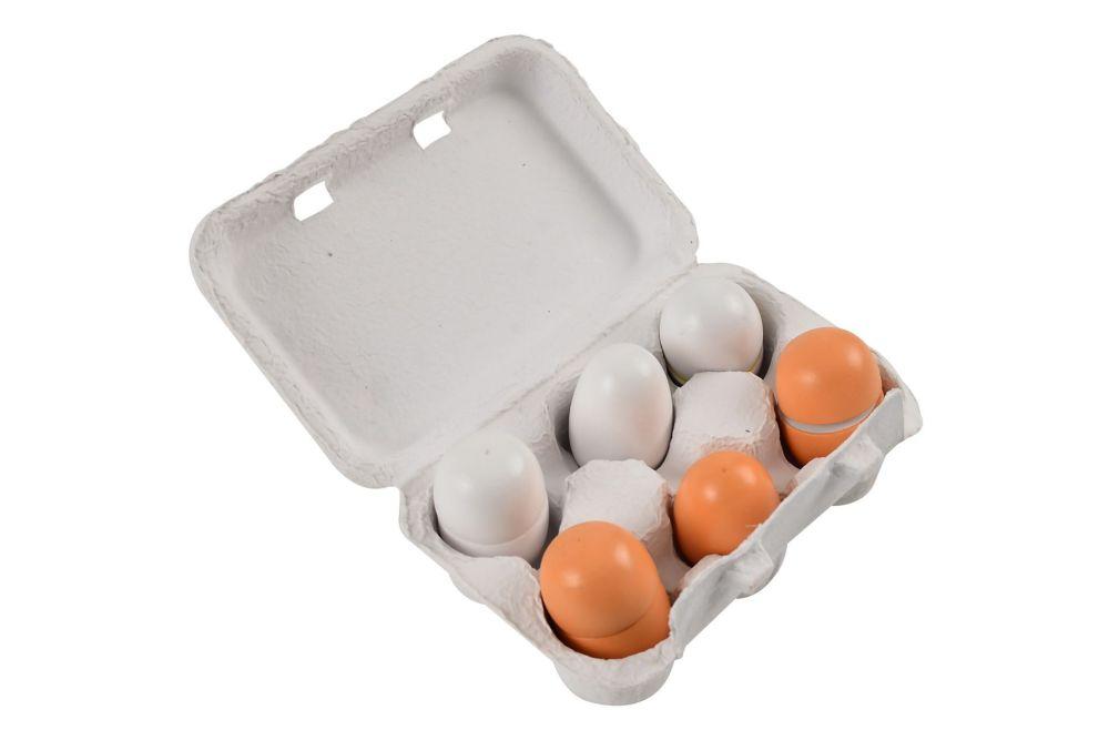Wooden Eggs in Egg Box