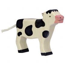 Calf standing, black - Holztiger