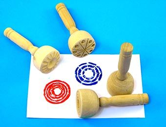 Wooden Paint and Clay Stampers