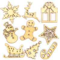 Christmas Wooden Shapes x 10