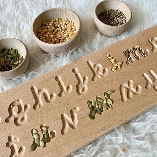 Wooden Cursive Alphabet Board