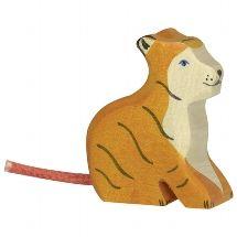 Tiger, small, sitting - Holztiger