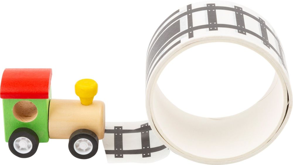Wooden Train with Adhesive Rail Track Tape