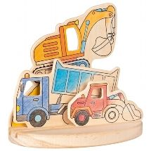Wooden colouring picture - Construction Vehicles