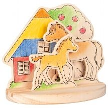 Wooden colouring picture - Pony Farm