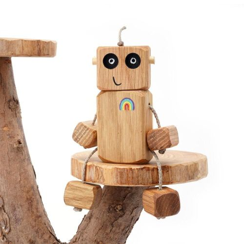 Ned the Robot - Rainbow Chest Ned in Oak