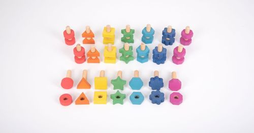 Rainbow Wooden Nuts & Bolts 21 pack