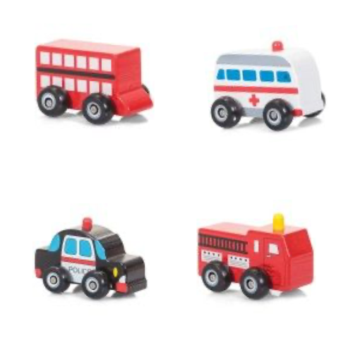 Set of 4 Wooden Vehicles
