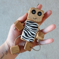 Ned the Robot - Zebra Ned -  Exclusive to The Wooden Play Den