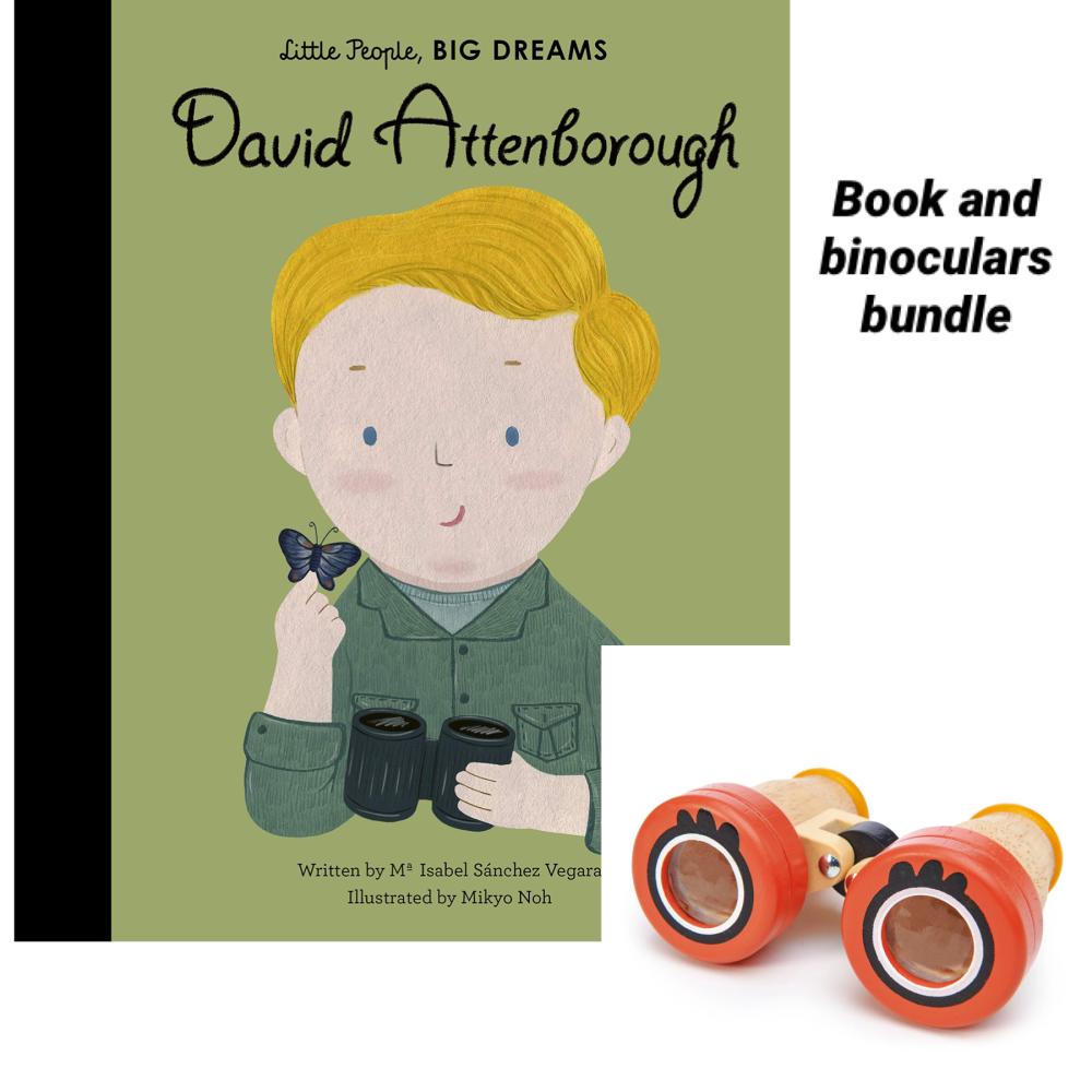 Little People Big Dreams David Attenborough & Safari Binoculars Bundle