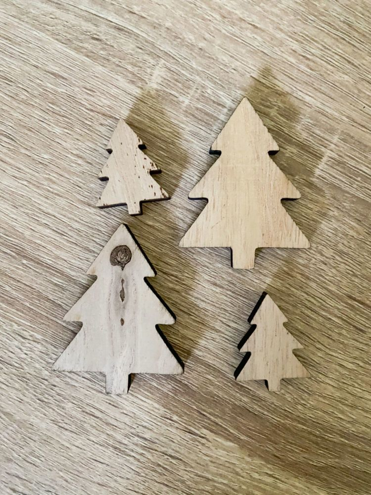Wooden Christmas Trees x 4