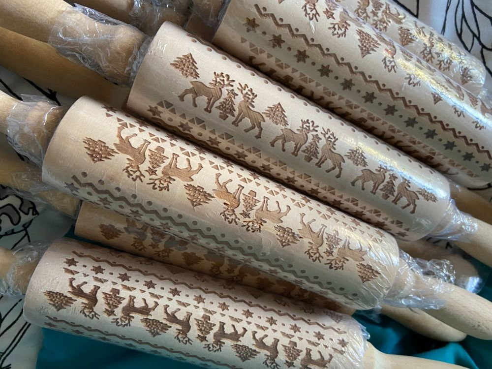 Wooden Christmas Pattern Rolling Pin