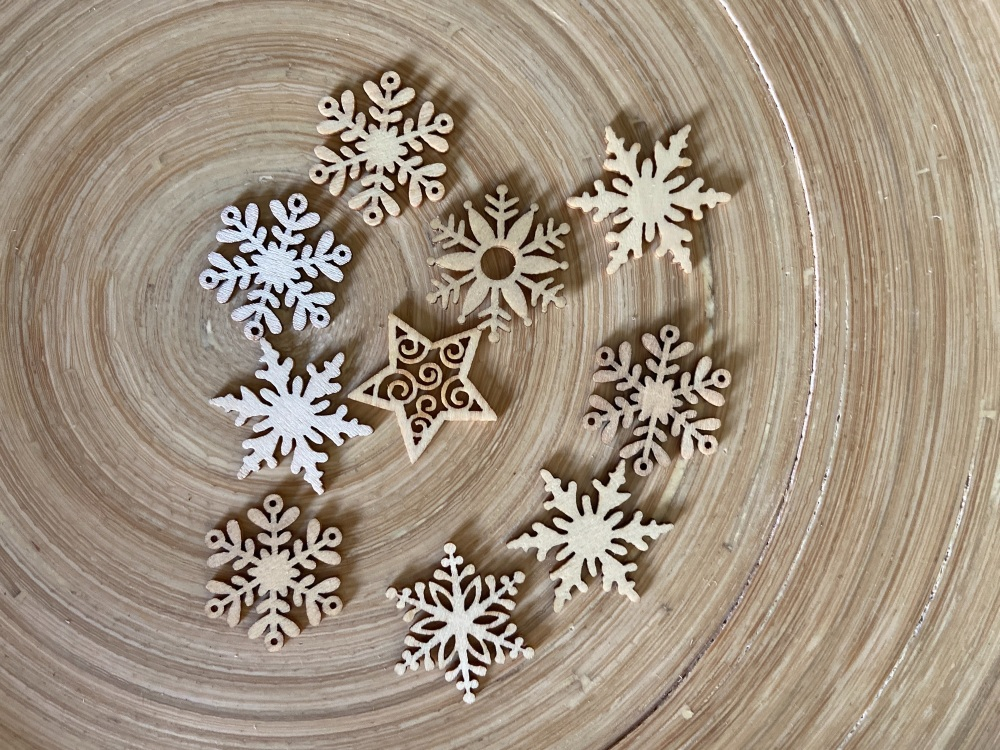 Snowflake Wooden Shapes x 10
