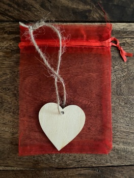 Wooden Hanging Heart with Gift Bag