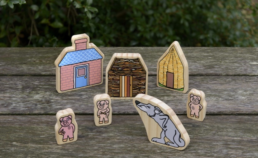 The Three Little Pigs Wooden Characters