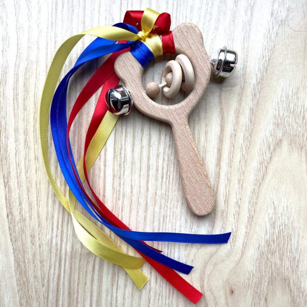 Bear with Bells - Ribbon Rattle