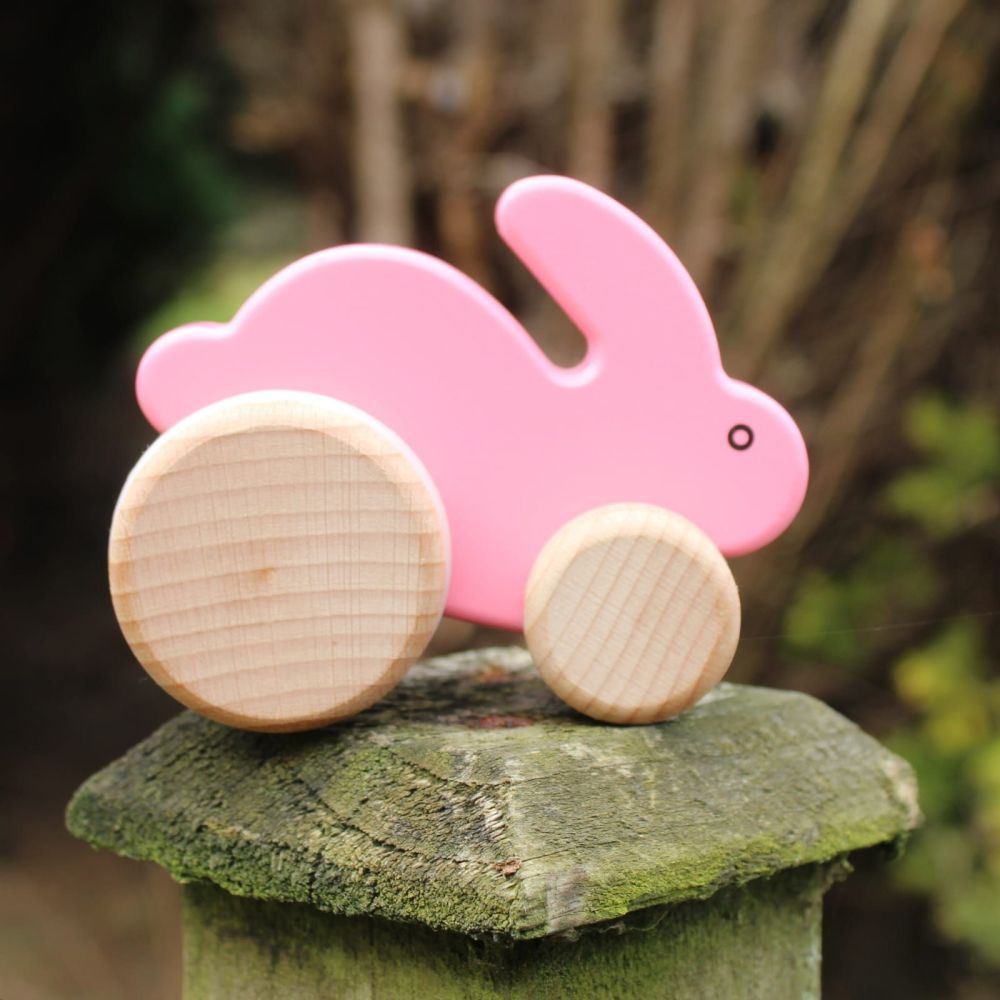 Push Along Rabbit - pink, mint or natural