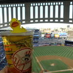 Enjoying a beer at the Yankees Stadium