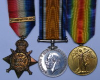 1914 Star bar Trio to 8587 Pte F Wimpenny 2/W RID R / KIA 1914 Railway Dugouts