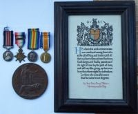 Military Medal 1914 Star bar Trio Plaque and Scroll to 8900 A W O Cl 2 G Tibble North N R
