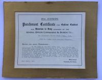 Parchment for Gallant Conduct to 2/Lieut W H O'Dell MM / 22 DLI
