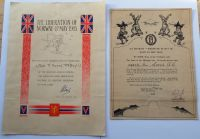 Liberation of the Arctic Circle and Norway certificates to A Soord RA