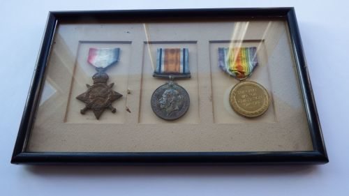 Framed 1914/15 Trio to Lieut E A Welsh Durh L I / 18 year old 2/Lieut