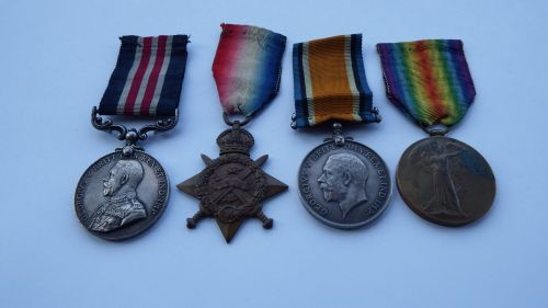 Military Medal 1914 Star Trio to 635574 GNR L BMBR W H Shore RFA / MM for I