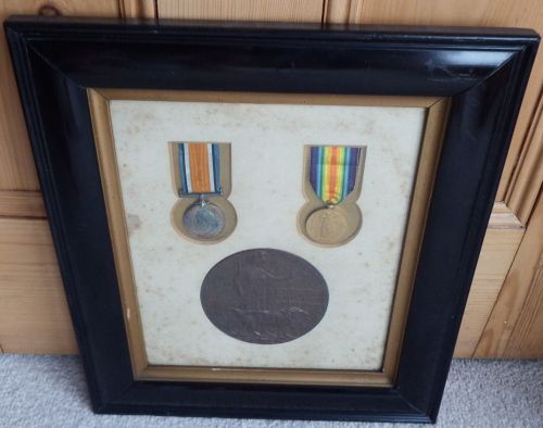 Contemporary Framed Pair and Plaque to 33951 Pte H C Martin Essex
