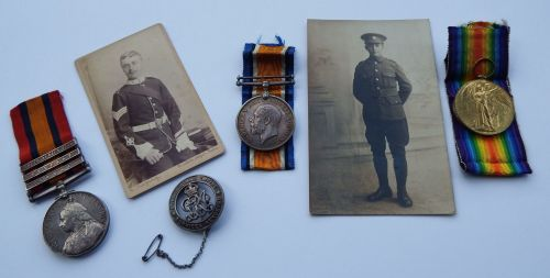 Father and Son group / Devon Regt and Somerset Light Infantry