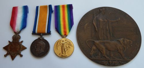 1914/15 Trio and Plaque to 16995 Pte G Getley NorthD Fus