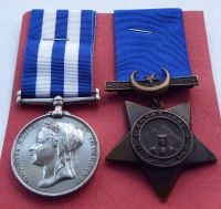 1882 Egypt Medal and Khedives Star to 959 Sergt G Hobbles 2/Derby R